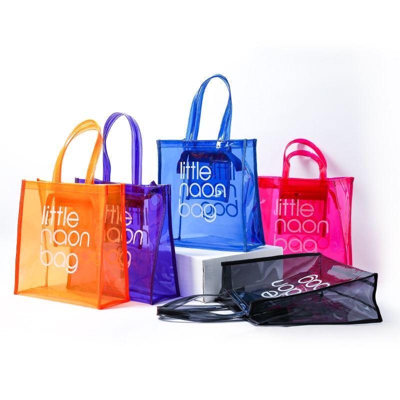 Custom fashion eco friendly cheapest high quality transparent little neon pink pvc tote bag