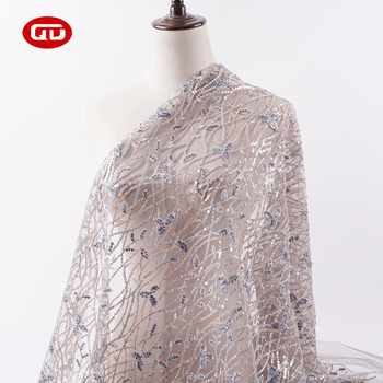 Fast delivery bling bling fancy wedding bridal floral embroidered tulle fabric with sequins