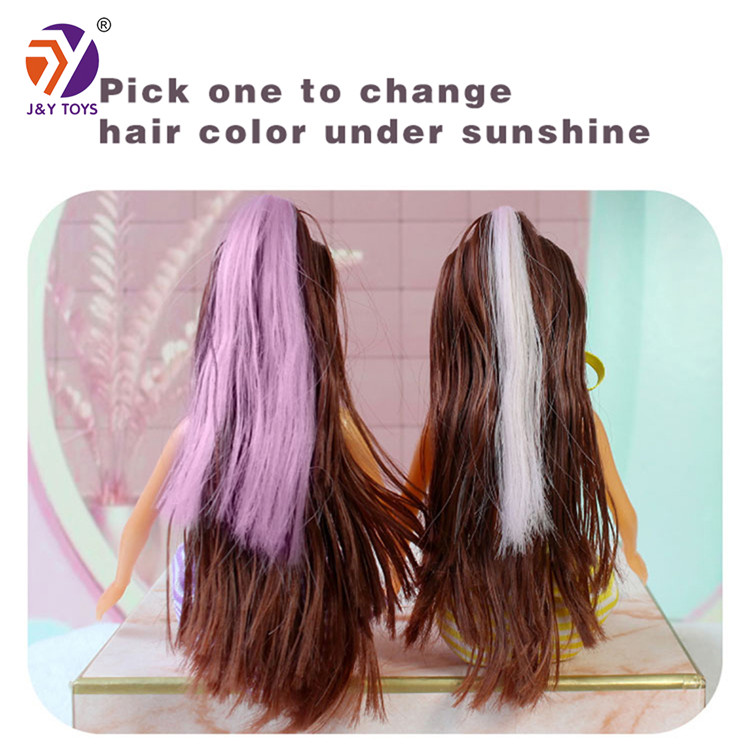 Wholesale cheap fashion girl plastic toy doll model 11.5 inches mini doll hair color change by ultraviolet