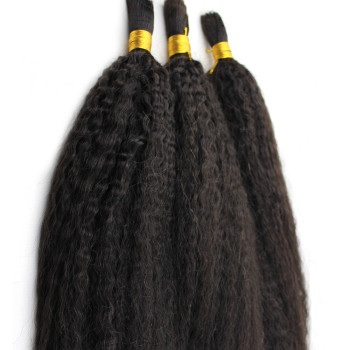 Kinky Straight Human Hair Bulk Braiding no Weft Afro Kinky Straight 100% Human Hair 3 Bundles a lot Bulk Hair for Braiding