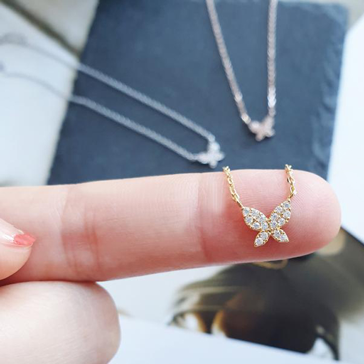 Anchor CZ Micro Pendant 925 Sterling Silver Necklace Link Chain Necklace Sterling Silver Pendant Necklace Jewelry