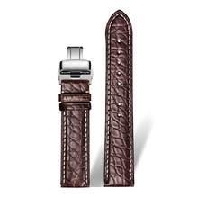 Ремешок для часов DOM из натуральной кожи крокодила, ремешок для часов из натуральной кожи 14 мм 16 мм 18 мм 20 мм 22 мм 24 мм Черный Коричневый женск...(Китай)