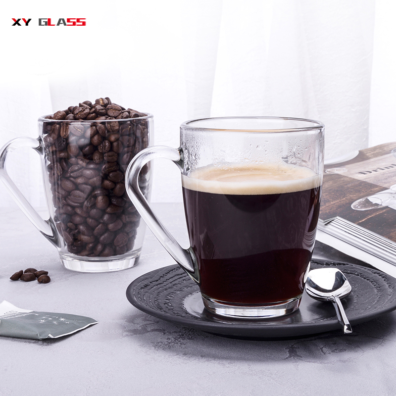 Artisan traditional heat resistant borosilicate thick bottom glass coffee cup