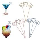 Reusable Cocktail Picks Stainless Steel Martini Picks STAR HERAT CIRCLE shapes Fruit Stick Appetizer