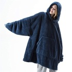 Hoodie Free Sample Plush Cozy Flannel Sherpa Huggle Hoodie Blanket 1 Size Fit All Wearable Mantas/Coperta Sweatshirt Blanket Hoodie