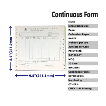 "FSC 9.5""x8.5"" 3 Sheets/Sets 1000P/Case NCR Carbonless Delivery Order No Carbon Copy Receipt Continuous Computer Form"