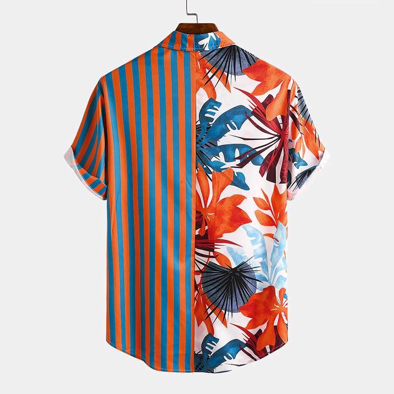 Custom OEM Logo Summer Men Hawaiian Shirt Printing Lapel Short Sleeve Casual Men Clothing Streetwear Button Vacation Camisas