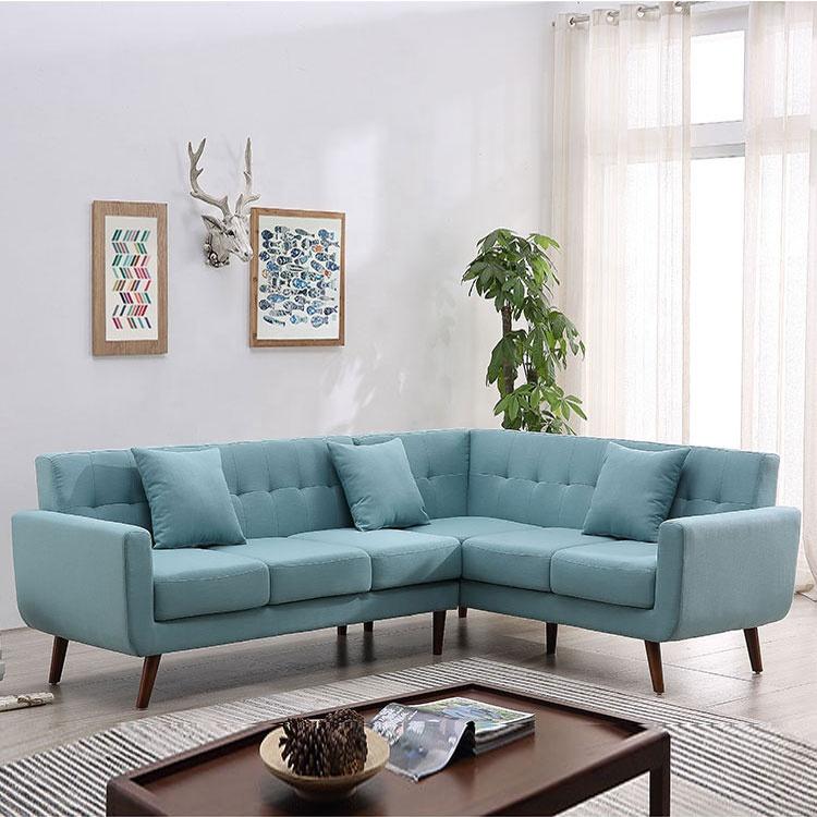 ornate green l shaped sofa suitable for living room Foshan home furniture sofa