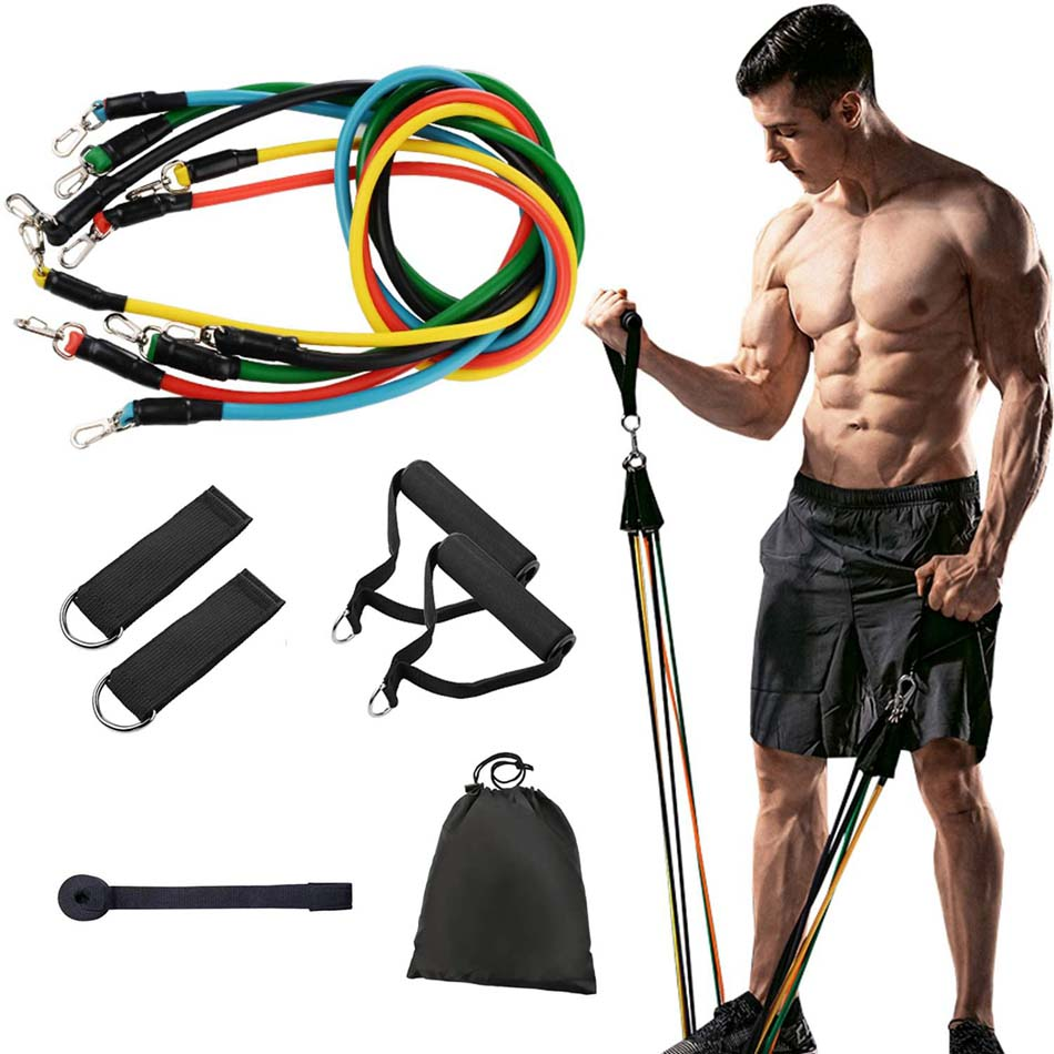 11XRESISTANCE BANDS SET PULL ROPE HOME GYM EQUIPMENT YOGA FITNESS EXERCISE-S