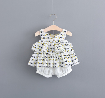 Wholesale new arrival trendy design two pieces baby girl clothes set high quality kids set