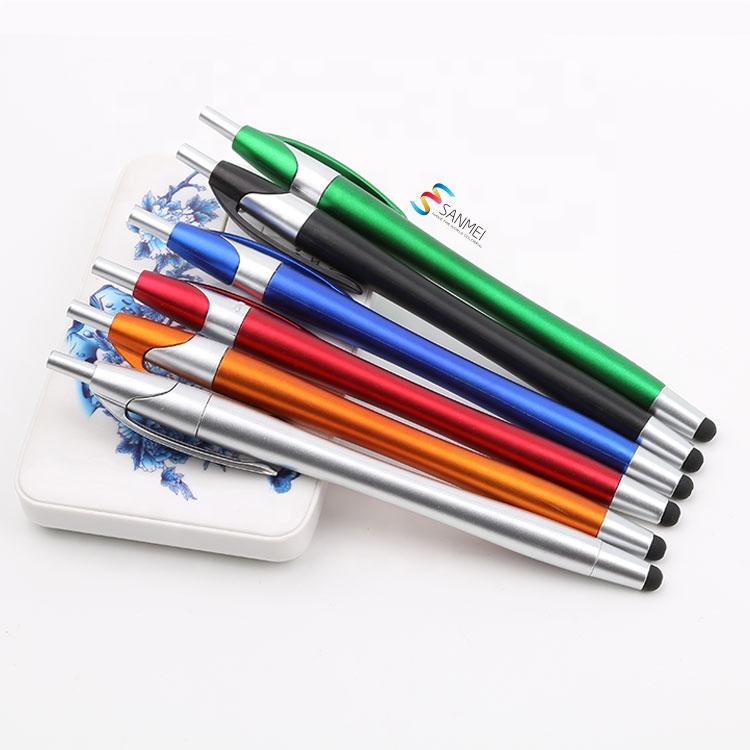 Современный Черный Многофункциональный персонализированный Стилус 2 в 1, пластиковая рекламная шариковая ручка