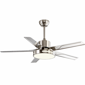 Decoration Home Air Conditioning Stainless Steel Blade Iron Acrylic Lamp Ceiling Fan With LED Light