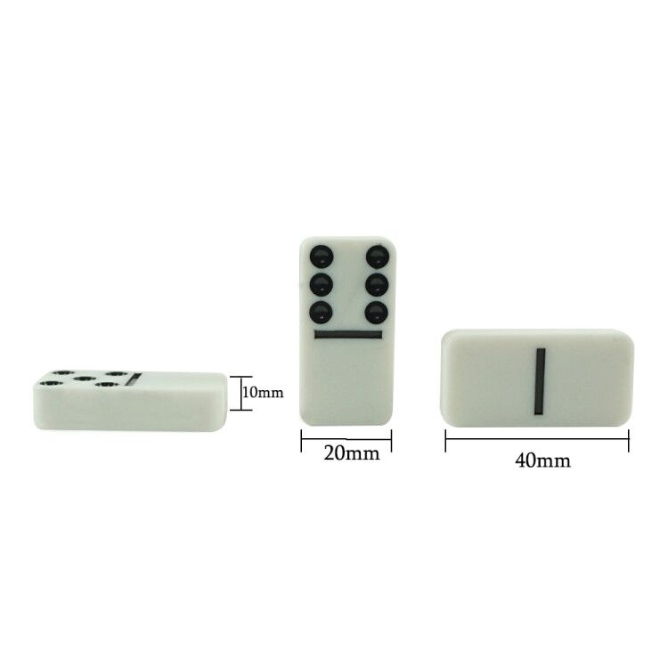 4010 Double 6 white domino packing in PVC box with 40*20*10mm dominoes