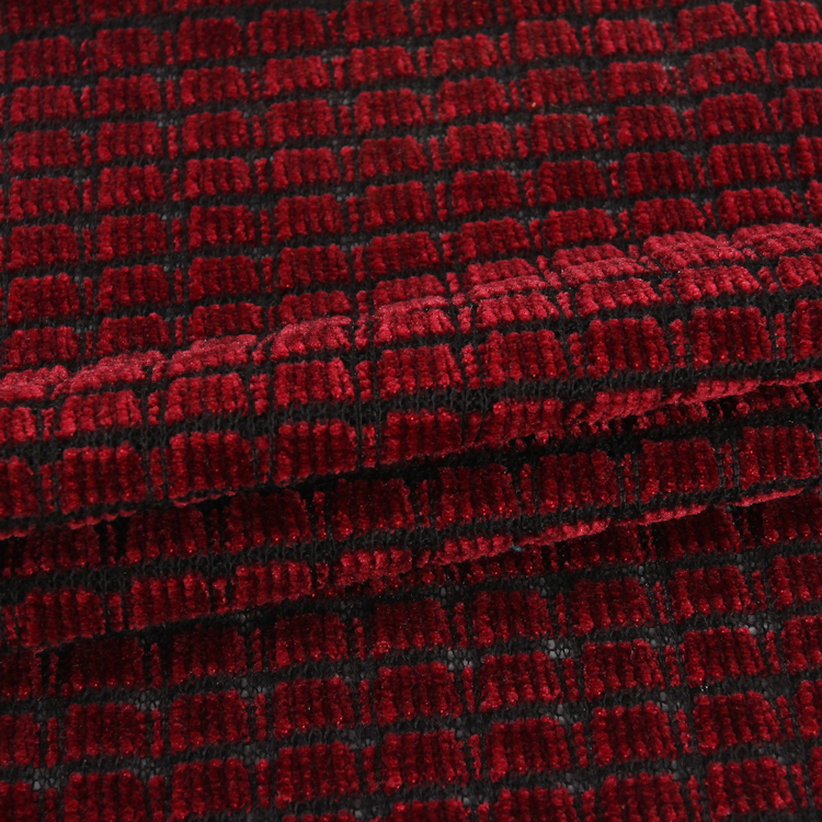 Red plaid polyester knit chenille fabric latest fabrics for garment making