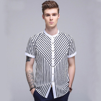 wholesale mens latest shirts designs white black printed fashion korean style short sleeve boys dress shirt slim fit new model