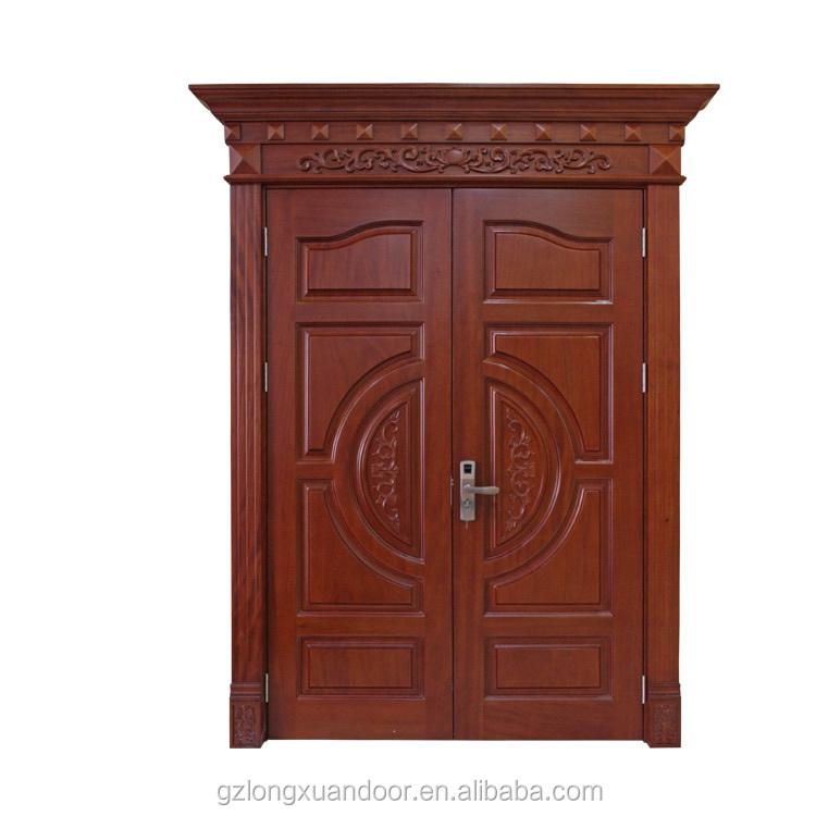 contemporary double entrance door Kerala wooden doors design main door