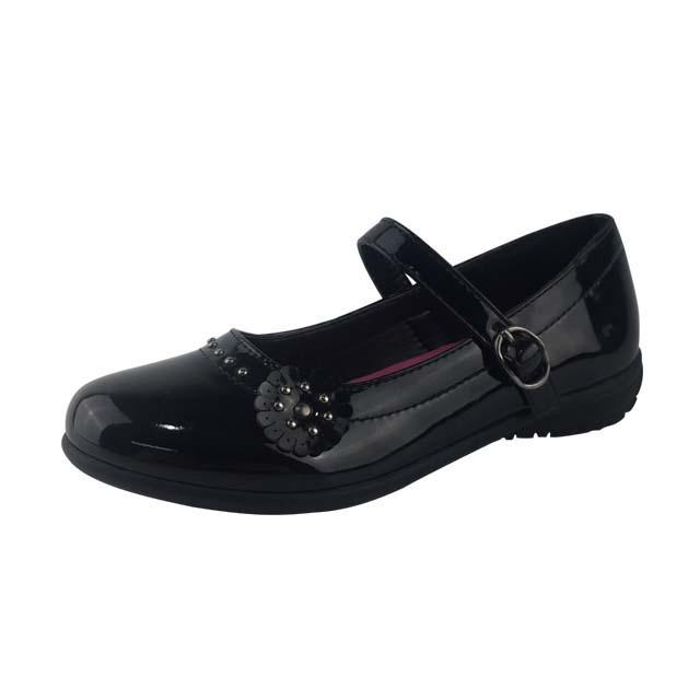 Greatshoe оптовая продажа, Детская школьная повседневная обувь для девочек, черная кожаная школьная обувь