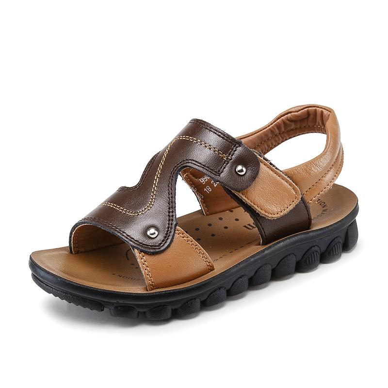 Повседневные дизайнерские кожаные сандалии для мальчиков на лето