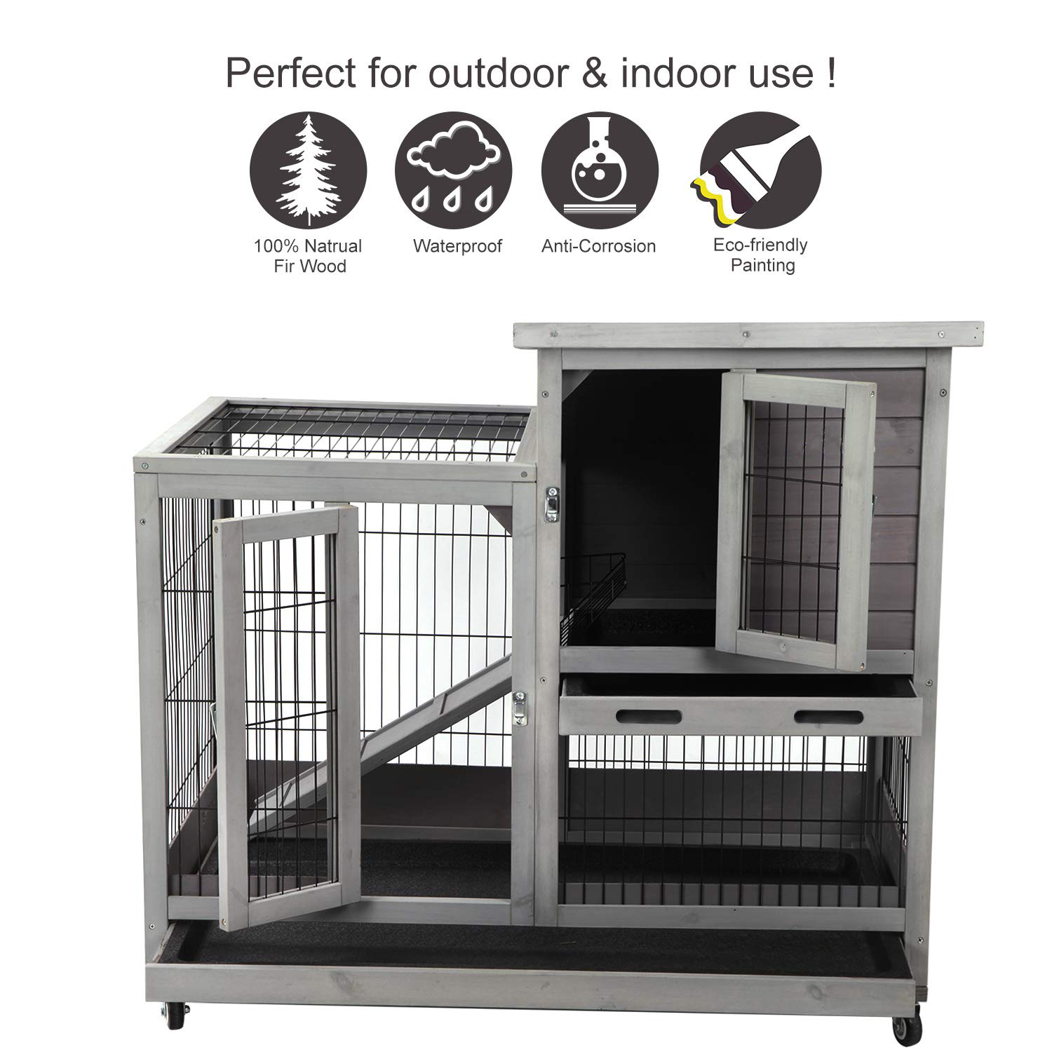 Rabbit Hutch Outdoor Bunny Cage Indoor With Run Large Rabbit House ...