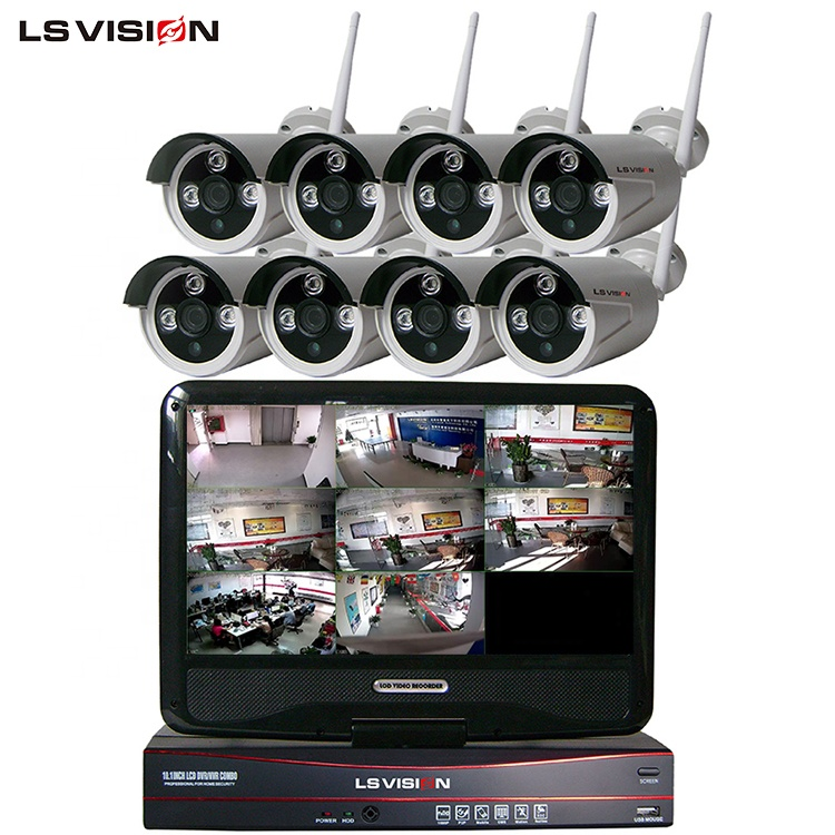 LS VISION IP66 Waterproof 8 Channel 1080P Cctv Camera Security System Network 8CH Wireless Wifi NVR Kit with 10 Inch LCD Monitor