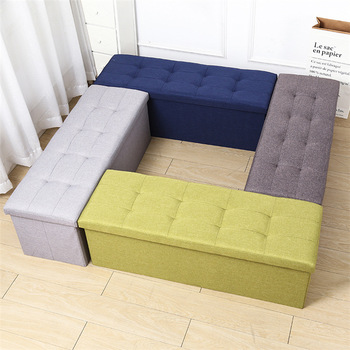 Factory custom multifunction fold linen fabric organizer storage box ottoman sofa bed