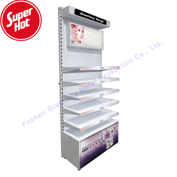 Customized Metal Cosmetics Shelf Make Up Shop Cosmetic Rack Makeup Display Stand