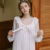 HSZ QLX-1 style nightdress spring collection retro lace home service sexy long-sleeved pajamas women