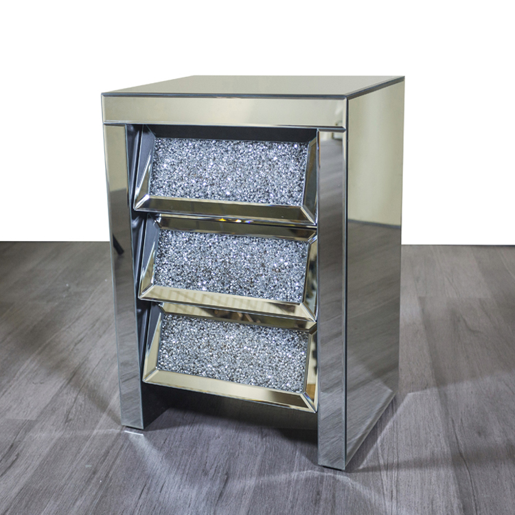 Diamond Crush Glass Bed Sofa Side Table Mirrored Nightstands With 3 Drawers Buy Crushed Diamond Bedside Table Mirrored Glass Bedside Table Mirrored Nightstand Side Table Product On Alibaba Com