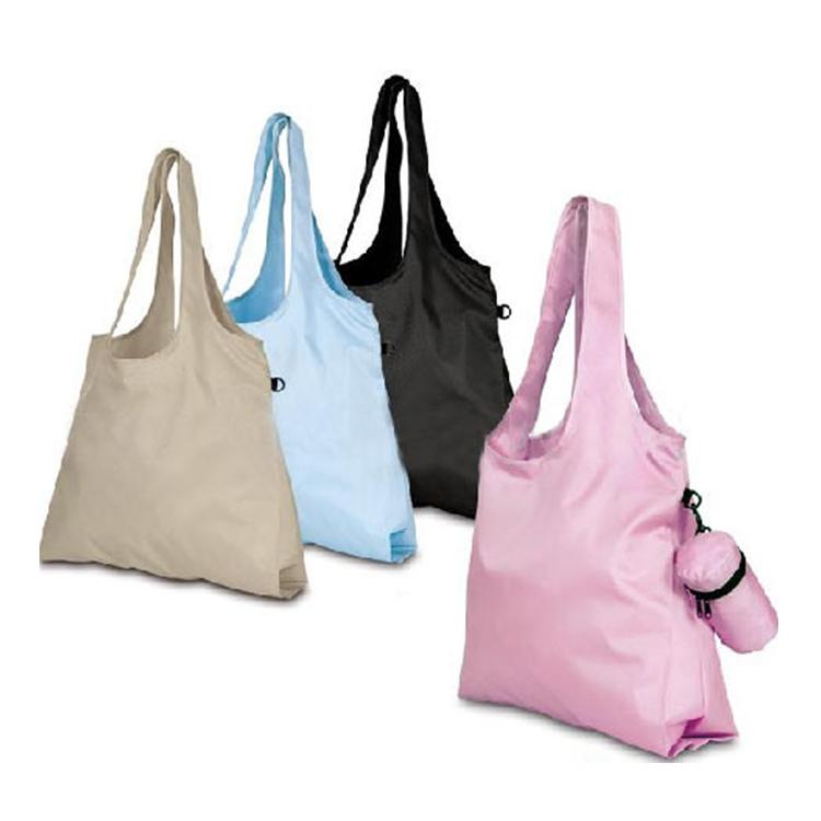 Переработанная полиэфирная ткань, складная сумка для покупок, перерабатываемая с небольшим мешком