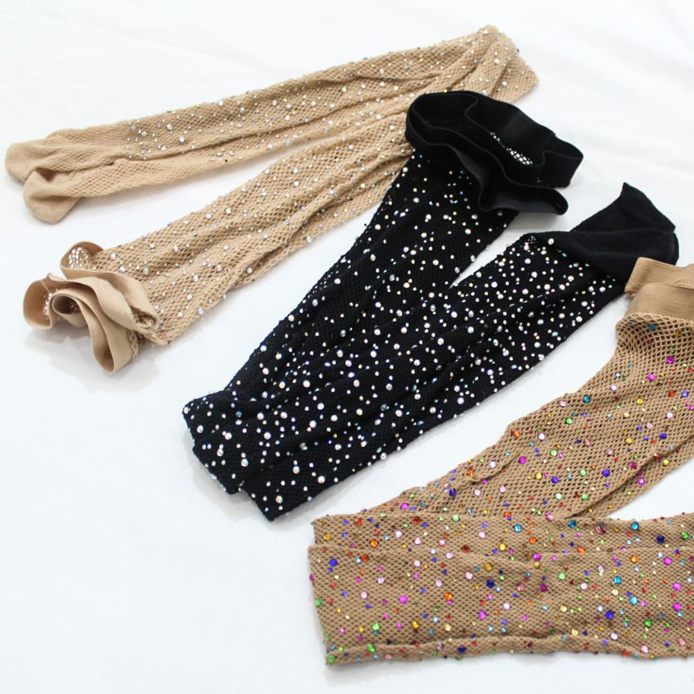 Rongrong Popular Women Black and Fleshcolor Rhinestone Silk Stockings