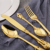 French stainless steel  knife and fork palace luxury golden cutlery with carved handle