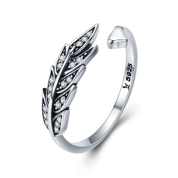 Qings Leaf Ring 925 Sterling Silver Leaf Open Ring With White Zircon