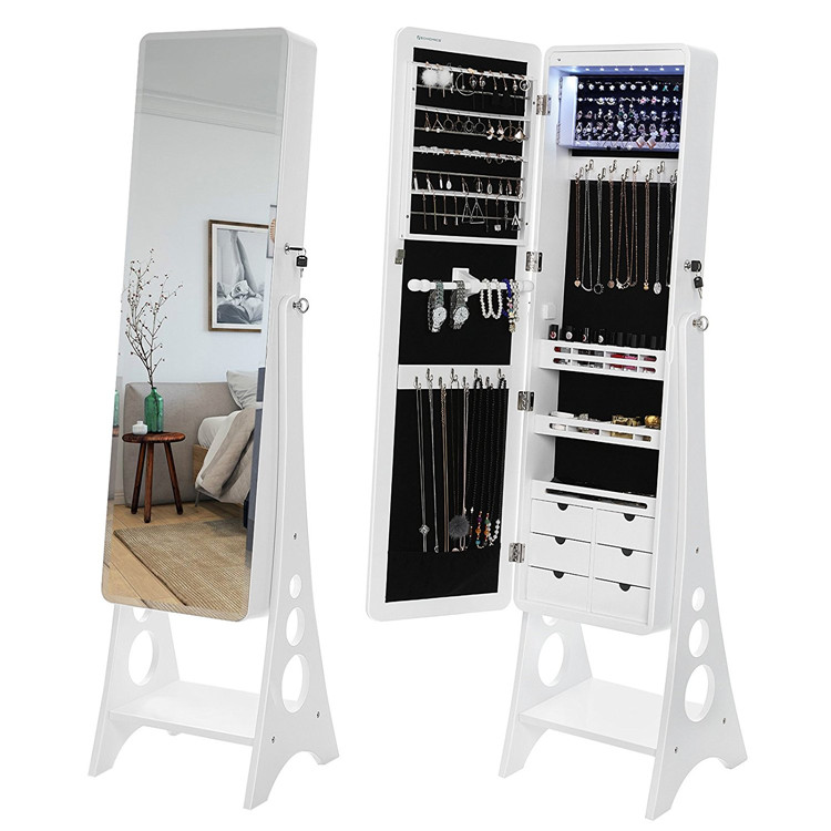 Organizer Storage Mirrored Stand Jewelry Armoire Mirror Cabinet