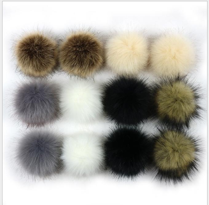 Factory wholesale fake fox fur pompom or faux raccoon fur pom pom ball with snap