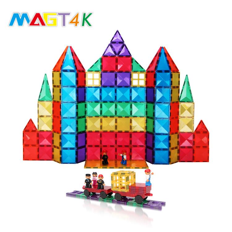 MAGT4K 120PCS Montessori Educational Toys Kids Block Toy 3D Magnetic Building Tile