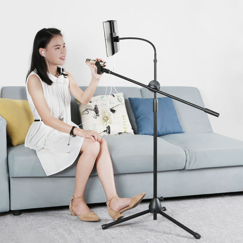 2020 Dual use smart phone holder 360 rotating phone mount with crossbar can sing with macrophone, prosperous life
