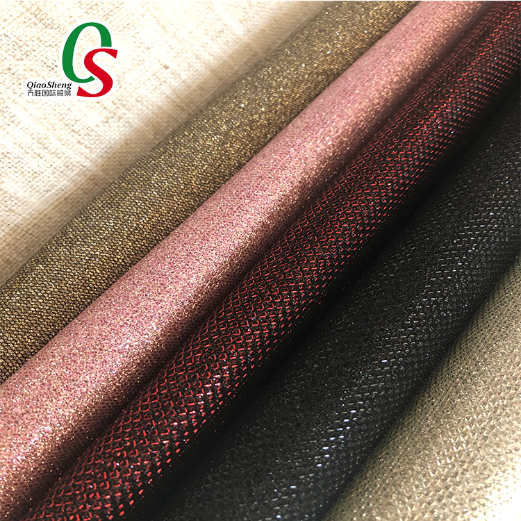 shiny artificial leather glitter mesh vinyl fabric for shoes