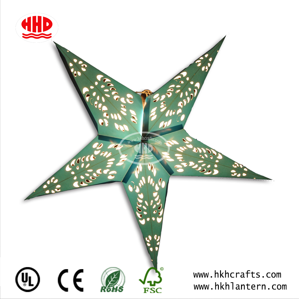 China Supplier Handmade 5points Paper Star Lantern Pattern For Christmas Party Decoration