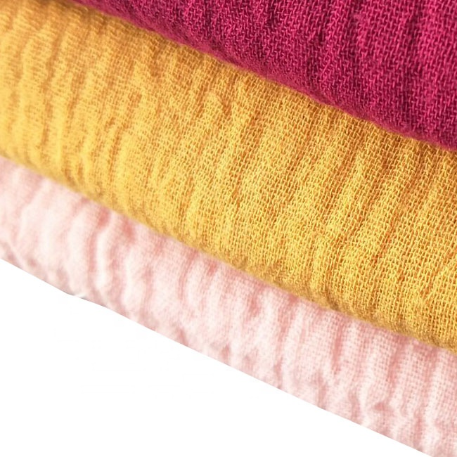100 Cotton Muslin Fabric Double Layer Gauze Fabric for baby garment