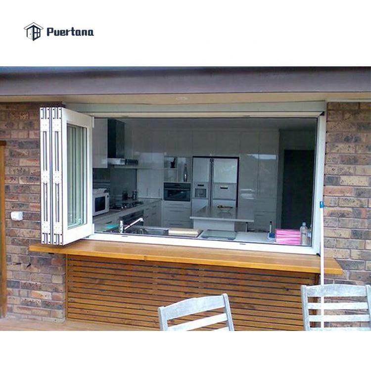 Складное окно для кухни, алюминиевое стекло двойного сложения с двойным стеклом, для дома, для окон и дверей
