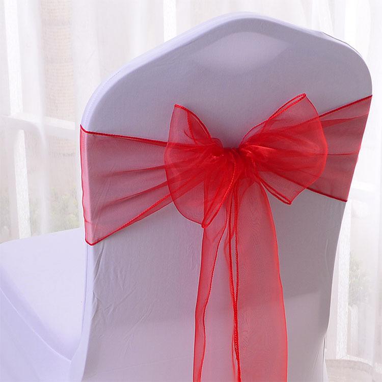 Свадебный розовый чехол из органзы с поясом и бантом для стула
