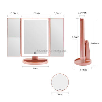 Tri fold vanity battery operated led light cosmetic mirror desktop