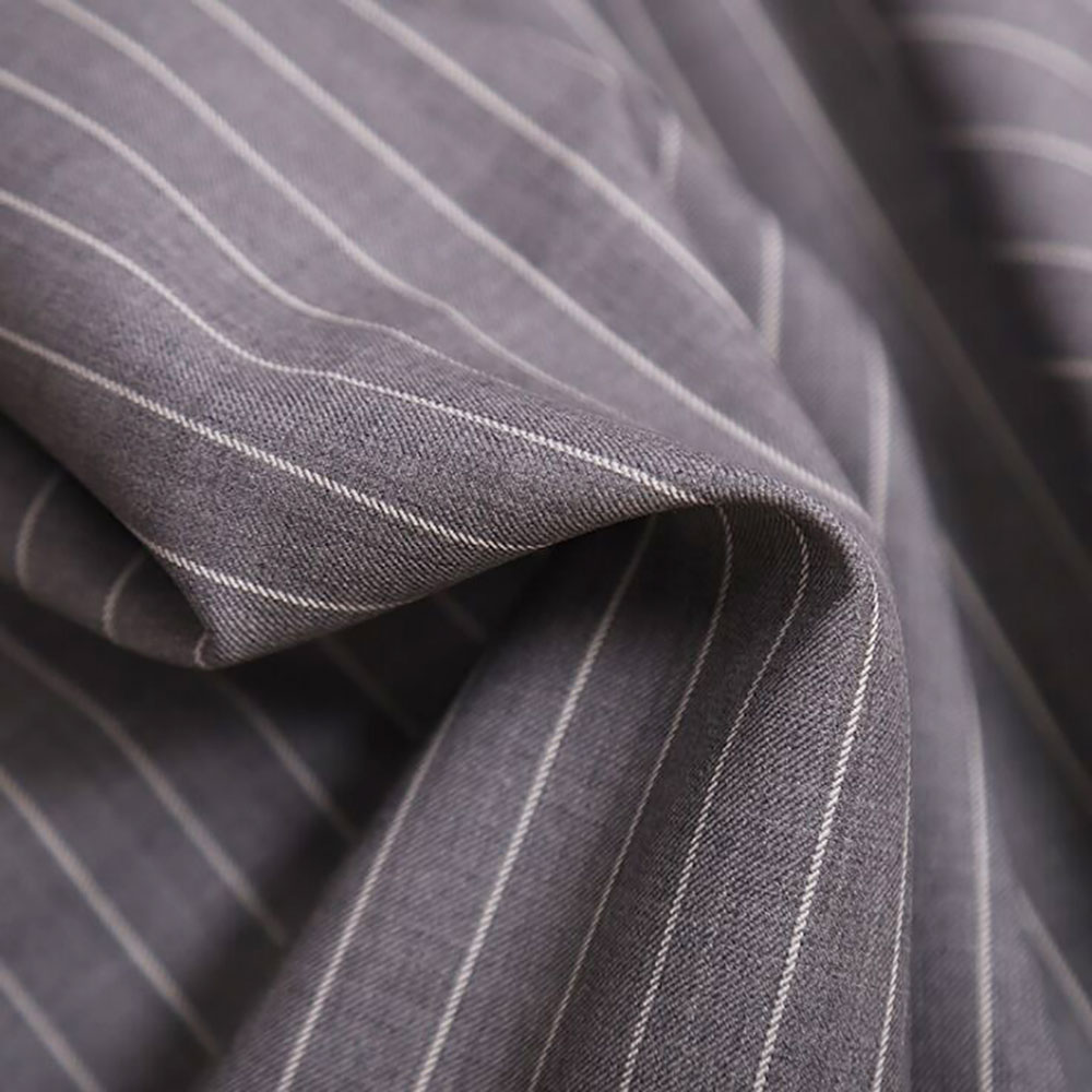 Wholesale Fashion Stripe Wool Polyester Blend Suiting fabric stocklot