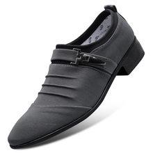 2020 г. Новая классическая парусиновая обувь с острым носком мужские черные оксфорды без шнуровки, официальная Мужская обувь Большие размеры ...(Китай)