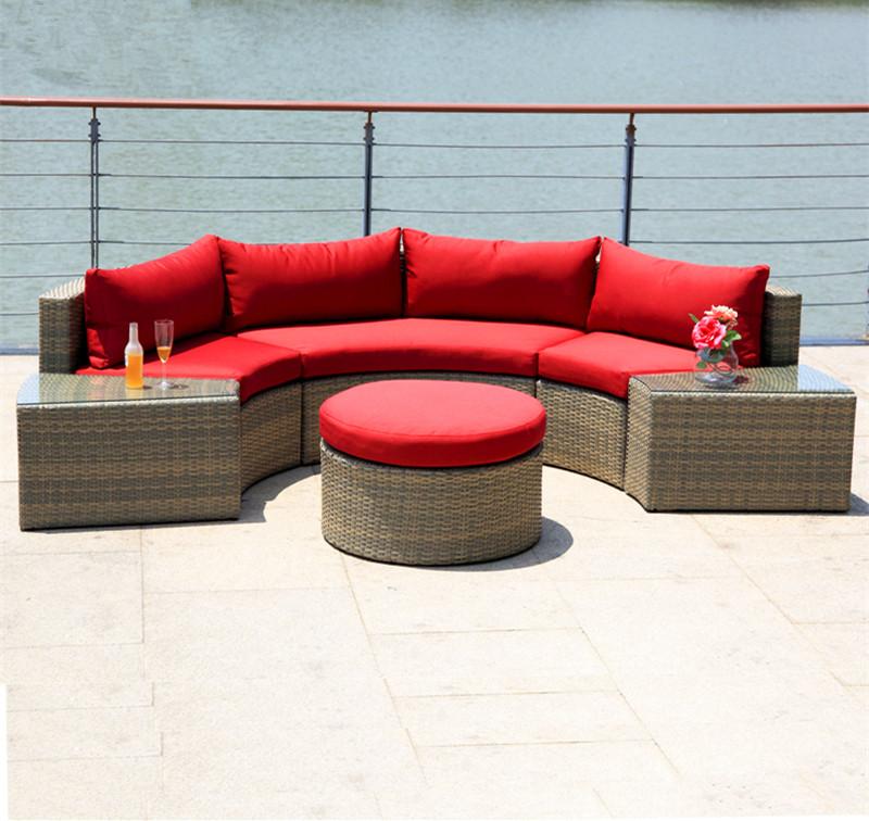 Современная изогнутая мебель из ротанга на заказ для отдыха на открытом воздухе