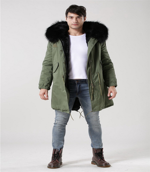 Fashion design jackets men long green/navy/grey/red/camouflage parka with black fur lined