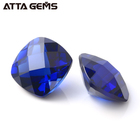 Blue Jewelry Bluejewelry Loose Synthetic Corundum Square Cushion Checkerboard Cut Blue Sapphire For Jewelry Making