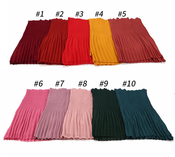 Hot muslim casual dress clothing hijab woman plain solid polyester crumple wholesale crinkle scarf
