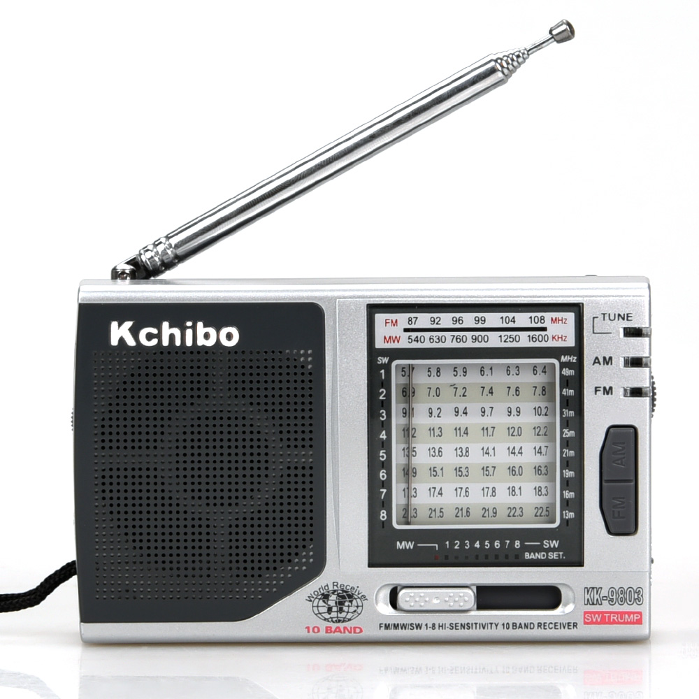 High sensitive portable sw mw fm10 band Kchibo radio with earphone jack
