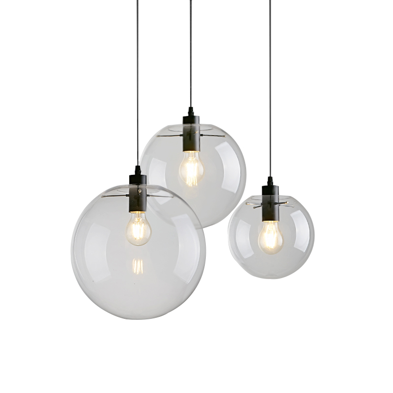 Nordic Fancy Vintage Industrial Chandelier Pendant Light with Clear Glass Home Lighting Modern Led Lamp